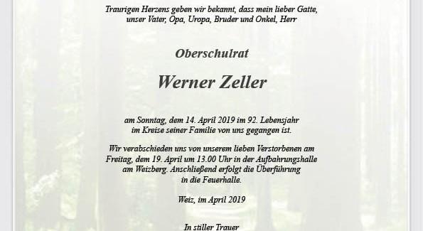 E-HBI Werner Zeller verstorben